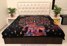 King Size Cotton Flat Bed Sheet Tree Elephant Tie Dyed Bedspread Throw Bedding