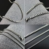 "16"" to 36"" Stainless Steel Mens Box Chain Womens 2mm Wide Necklace 40 to 91 cm"