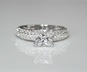 STERLING SILVER 7MM 1.6CT PRINCESS CUT CZ CUBIC ZIRCONIA SOLITAIRE RING