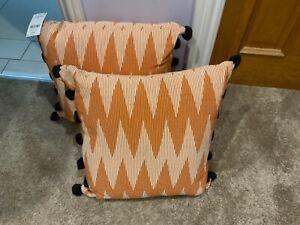 Next Orange Cream PomPom Cushions NEW WITH TAGS