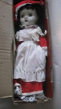 Rare Collectible Porcelain Doll Red & White Dress & Black Hair 15 Inch Doll  t25