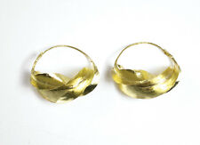 """Large Fula Gold lightweight Earrings 100% unique hand craft 1½"""" twisted bronze"""
