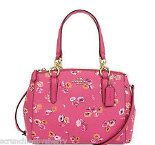 Coach Mini Christie Dahia Pink Wldflowers Purse Handbag F37421 Gift Receipt