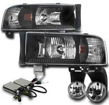 1994-2001 DODGE RAM BLACK CRYSTAL HEADLIGHTS+CHROME DRIVING FOG LAMP W/6000K HID