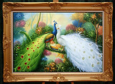 """Handmade Oil painting Animals Two peacocks in the trees art on canvas 24""""x36"""""""