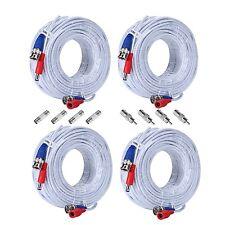 4X 30m BNC100ft Video DC Power Sicherheit Kabel CCTV DVR Überwachungskamera Weiß