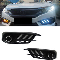 For Honda Civic 10th 16-2017 White+Yellow LED Daytime Running Light Turn Signals