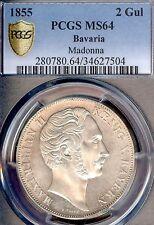 German States Bavaria 1855 2 Gulden Taler Coin Thaler PCGS MS 64  Madonna F.STG