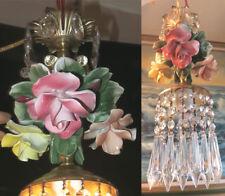 1 Porcelain Capodimonte Rose Brass chandelier Swag vintage lamp crystal prisms