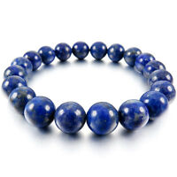 10mm Cuff Link Wrist Blue Lapis Lazuli Stone Buddha Prayer Beads Woman, Man S2Q8