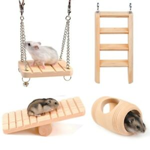 Hamster Chew Toys 4 Pack - Natural Wooden Pine Guinea Pigs Rats Chinchillas Toys