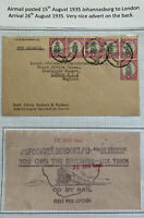 1933 Johannesburg South Africa Airmail Rail Advertising Cover To London England