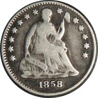 1858-P H10C SEATED SILVER HALF DIME VG/FINE DETAILS OLD LIGHT CLEANING 041521060