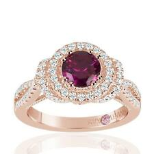 Suzy Levian Rose Sterling Silver Created Ruby and White Cubic Zirconia Anniversa