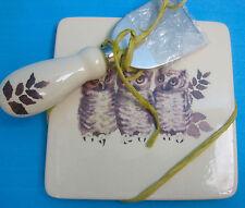 Cheese & Knife Dolomite Cutting Board Dish Tile Creativeco-op Owl Bird Design