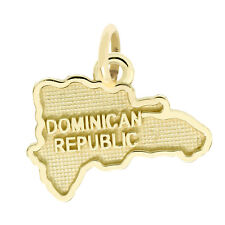 14Kt Yellow Gold Polished Travel Dominican Republic Charm Pendant