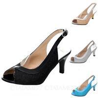 TATA sexy Womens Slingback Elegant Mid High Heel Sparkle Sandals Plus Size Shoes