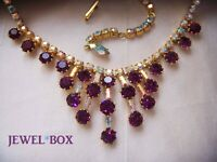 VINTAGE AMETHYST CRYSTAL AURORA BOREALIS RHINESTONE NECKLACE CROWN SETTINGS
