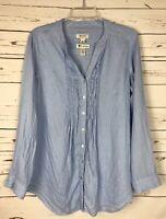 MALVIN Germany Women's Size 10 Blue 100% Linen Button Tunic Top Shirt Blouse