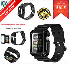 Apple Watch 38mm Case iWatch All 1 / 2 Series Strap Bands Screen Protector Black