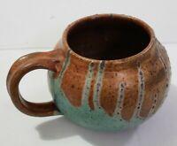 Handcrafted Coffee Mug Cup Artist Pottery Drip Glazed Studio Stoneware Signed