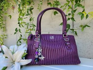 Coach 45928 madison Aubergine PURPLE gathered leather satchel purse handbag MINT
