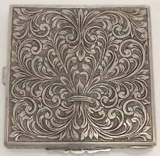ORNATE VINTAGE ITALIAN ENGRAVED 800 FINE SILVER COMPACT