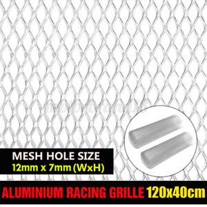 2x Silver 16x47'' Aluminium Racing Grille Net Bumper Vent Race Car Tuning Mesh