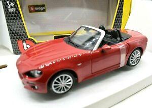 Miniature voiture Fiat 124 Spider auto 1/24 Burago Modélisme Static diecast Red