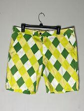 Loudmouth Golf Men's Yellow Green White Plaid Golf Shorts Size 38w x 34L