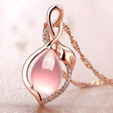 Party Gift Chain Rose Gold Plated Necklace Jewelry Pink Opal Stone Pendant