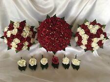 Dark Red & Ivory Foam Rose Bridal Wedding Flower Bouquet Set With Rhinestones