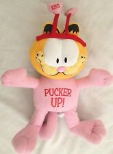 "Plush Pink 18"" Valentine PUCKER UP Kiss Me Garfield the Cat"