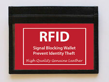 BLACK MENS LEATHER THIN Wallet Holder Money Credit Card ID Window RFID SAFE SALE