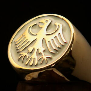 ROUND MENS BRASS SIGNET RING GERMAN EAGLE SEAL COAT OF ARMS WHITE SIZE 10.5