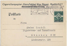 Germany 1935 Postal Card Cover #454 Cigarette Co. Berlin to Munich - Solo Use