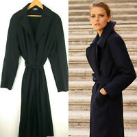Ann Taylor Loft Wool Trench Jacket Coat Large 12 14 Belted Black Long Dressy cl