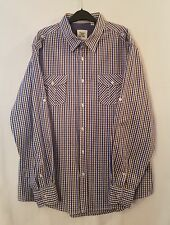 PAPER DENIM CLOTH BROWN BLUE CHECK STRAIGHT COLLAR 100% COTTON SHIRT SIZE XXL