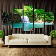 Forrest Waterfall- LARGE SPLIT FRAMED CANVAS PRINTS !!! Modern Art Painting