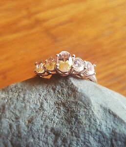 Natural Morganite Ring (Size 6.75) 14K Rose Gold OL Sterling Silver 1.15Cts.