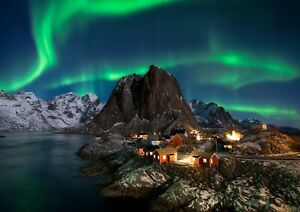 Northern Lights sky Landscape Scenery Photo Poster Print ONLY Wall Art A4