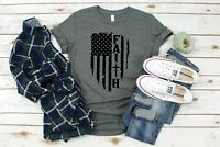 Faith - American Flag Christian T-Shirt (Jersey Soft)