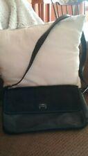 Etienne Aigner Black Leather Shoulder Bag Purse Handbag Faux Fur Flap