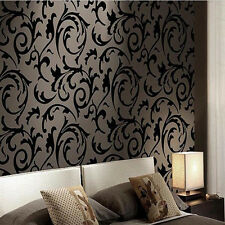 Black Color Victorian Damask/Simulation Striae Wallpaper Vinyl Wall paper Roll