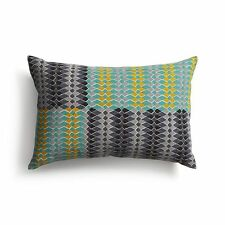 "Crate and & Barrel SIKINA Pillow Cover 18"" x 12"" NWT- Geometric-Teal/Grey/Yellow"
