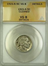 1921-S Buffalo Nickel 5c Coin ANACS VG-8 Details Cleaned