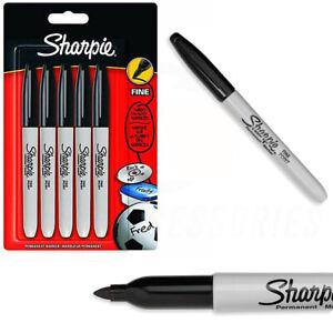 Sharpie Permanent Markers Black Fine Point Tip 0.9mm - GENUINE SHARPIES - 5 PACK