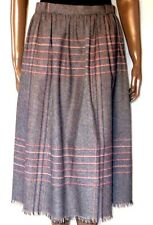 "Vintage 70's PANTHER Red Gray WOOL Blanket Plaid SKIRT Fray Hem S M 6 8 29""waist"