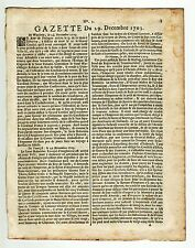 1703,dec.29, Rare Original French Gazette with text from Isle deTerre Neuve