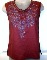 BURGUNDY EMBROIDERED TUNIC HIPPIE BOHO CAMISOLE VEST TOP FREE SIZE # H213#